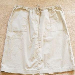 L.L. Bean XL tan skirt drawstring 100% cotton